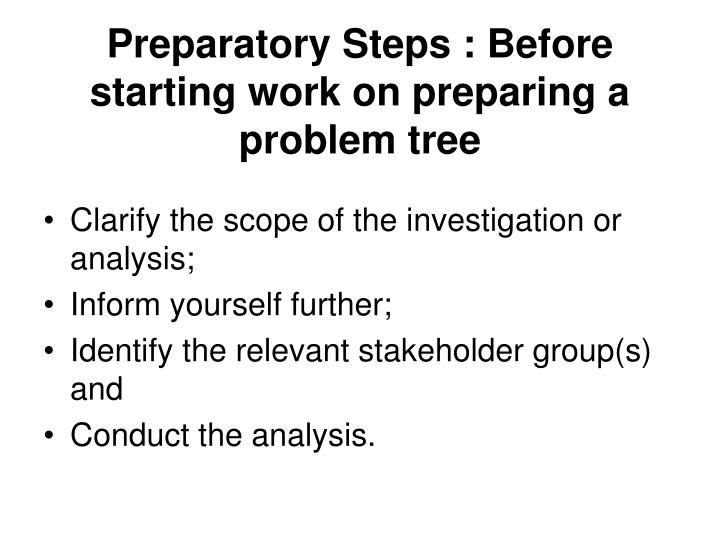 Preparatory Steps : Before starting work on preparing a problem tree