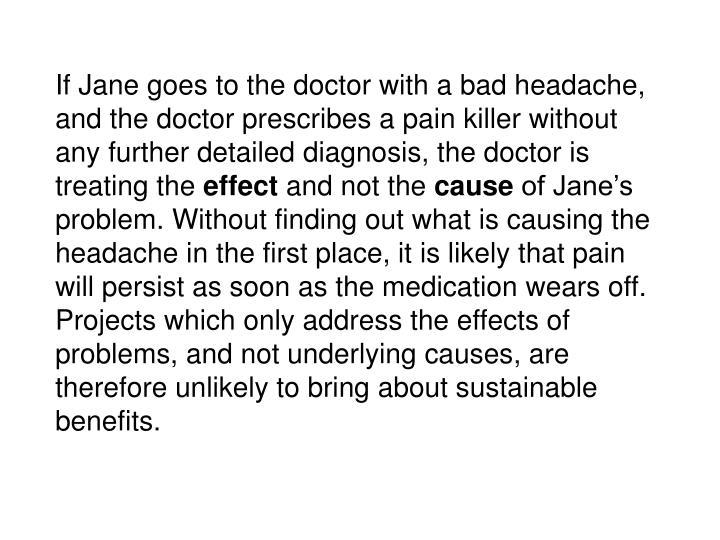 If Jane goes to the doctor with a bad headache, and the doctor prescribes a pain killer without any further detailed diagnosis, the doctor is treating the