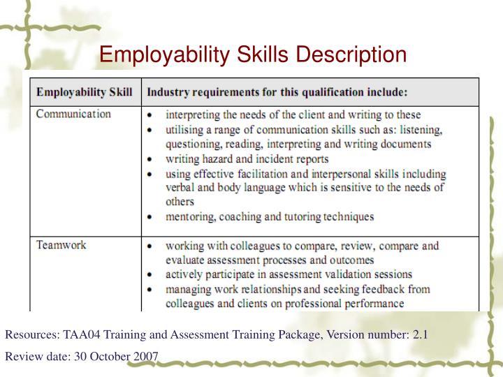 Employability Skills Description