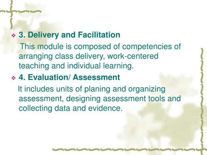 3. Delivery and Facilitation