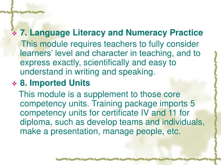 7. Language Literacy and Numeracy Practice