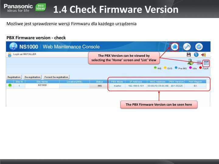 1.4 Check Firmware Version