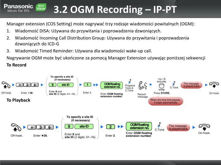 3.2 OGM Recording – IP-PT
