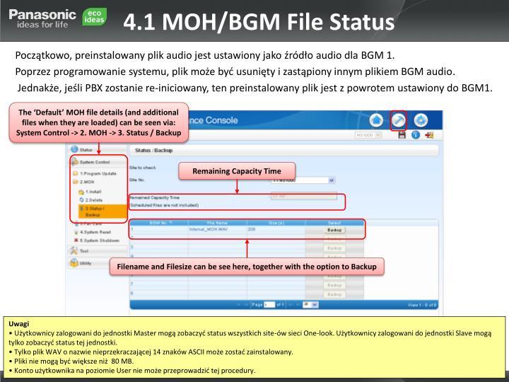 4.1 MOH/BGM File Status