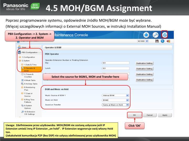 4.5 MOH/BGM Assignment