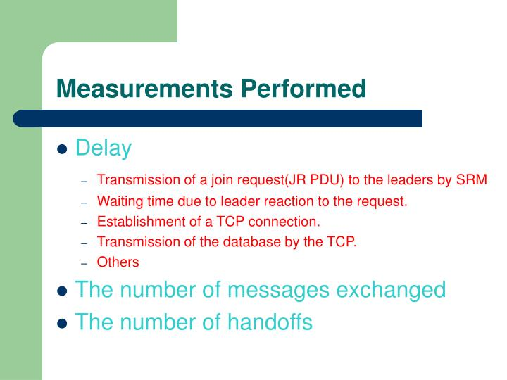 Measurements Performed