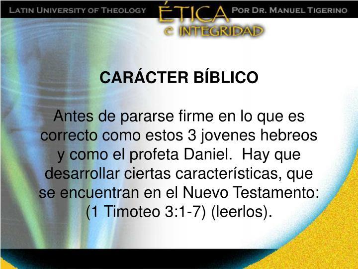 CARÁCTER BÍBLICO