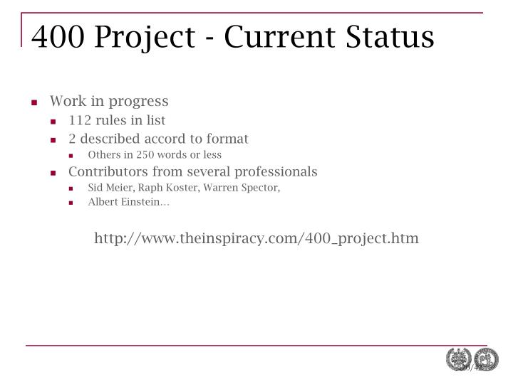 400 Project - Current Status
