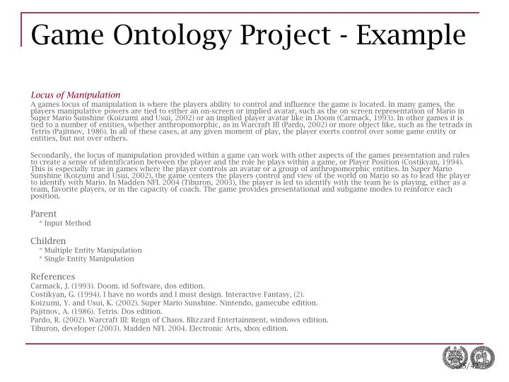 Game Ontology Project - Example
