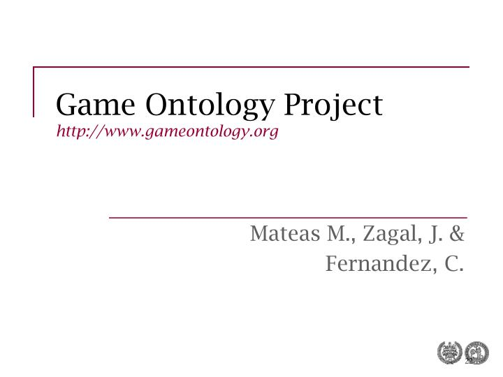 Game Ontology Project