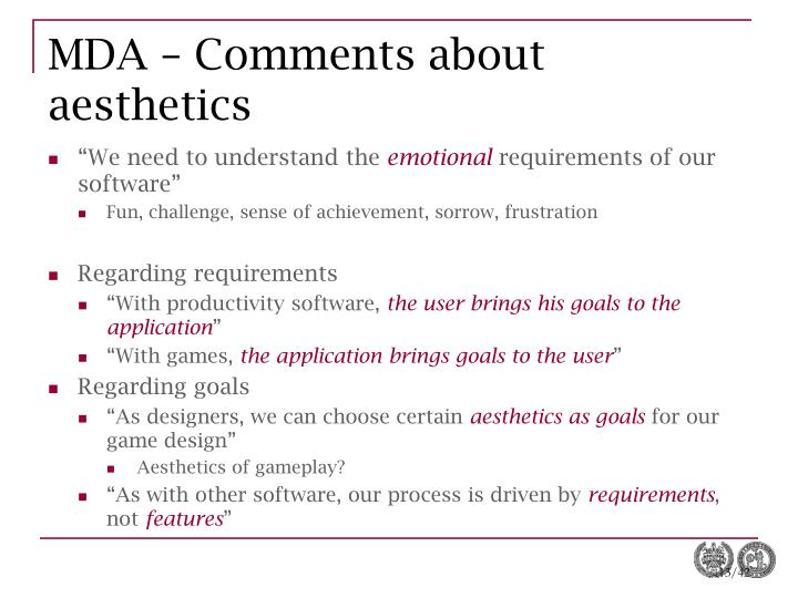 MDA – Comments about aesthetics