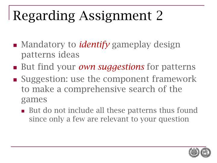 Regarding Assignment 2