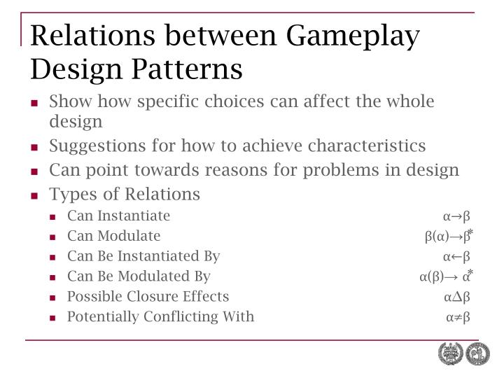 Relations between Gameplay Design Patterns