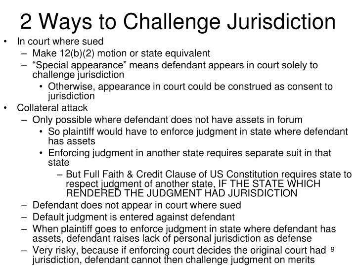 2 Ways to Challenge Jurisdiction