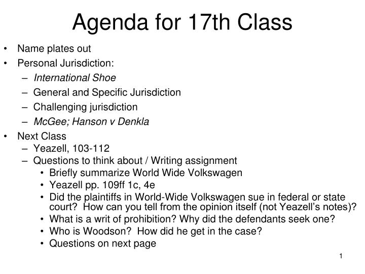Agenda for 17th class