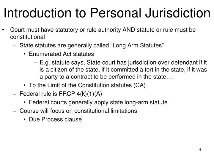 Introduction to Personal Jurisdiction