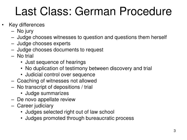 Last class german procedure
