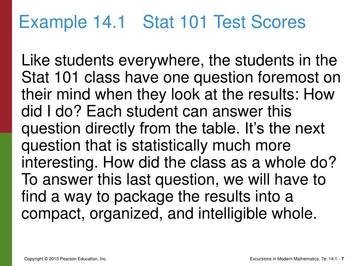Example 14.1Stat 101 Test Scores