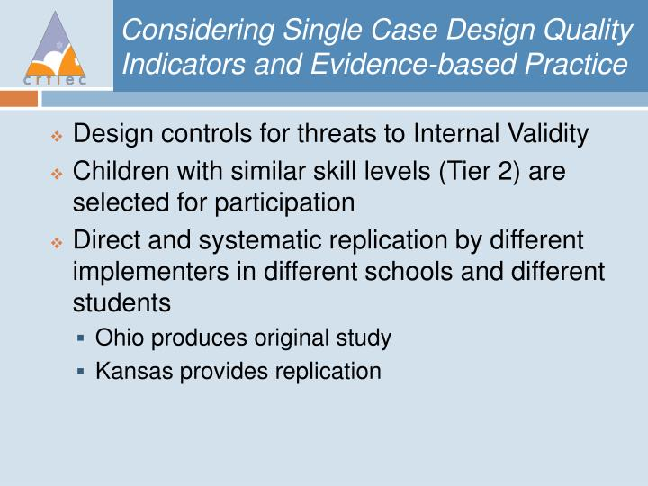 Considering Single Case Design Quality Indicators and Evidence-based Practice
