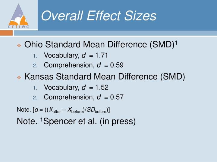 Overall Effect Sizes