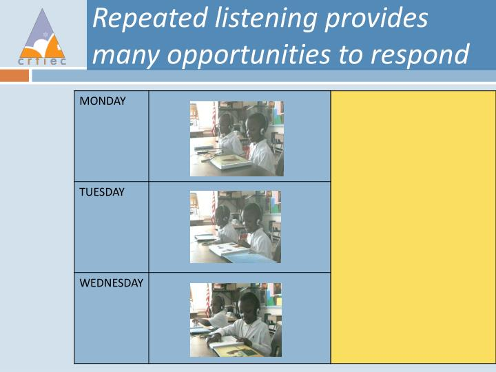Repeated listening provides many opportunities to