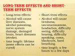 long term effects and short term effects