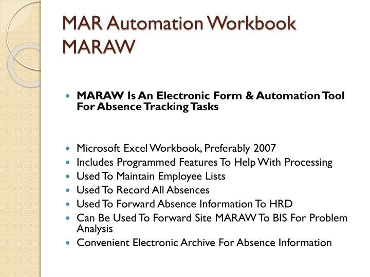 MAR Automation Workbook MARAW