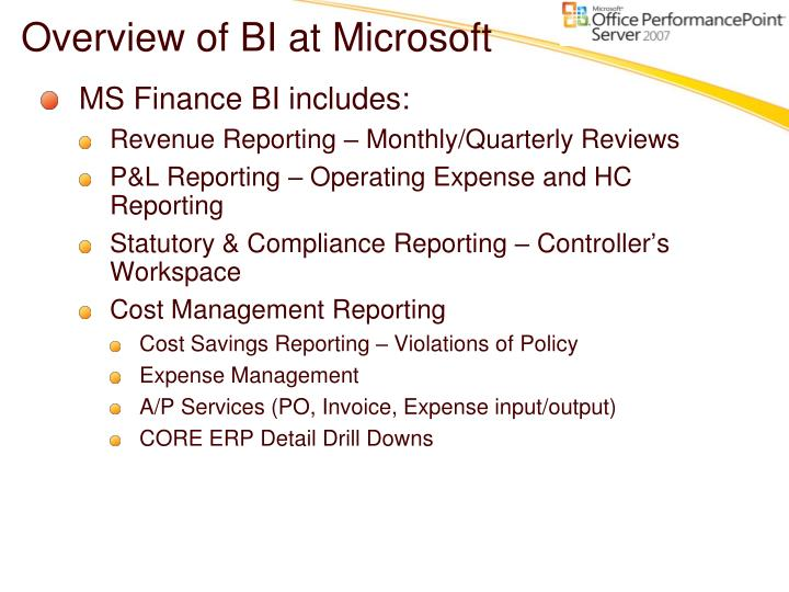 Overview of BI at Microsoft