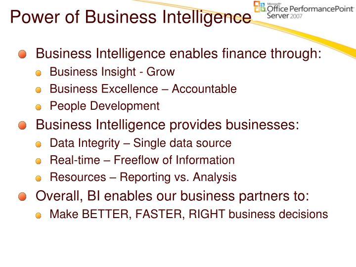 Power of Business Intelligence