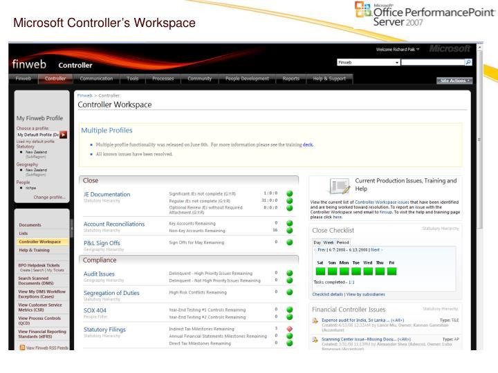 Microsoft Controller's Workspace