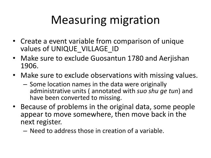 Measuring migration