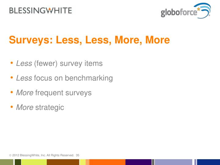 Surveys: Less, Less, More, More