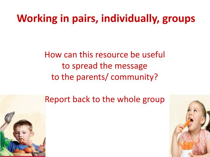 Working in pairs, individually, groups