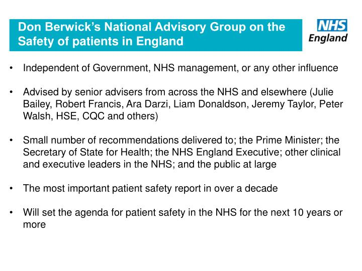 Don Berwick's National Advisory Group on the Safety of patients in England