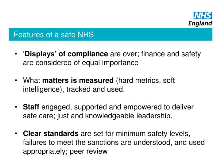Features of a safe NHS