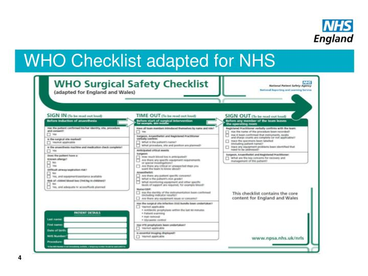 WHO Checklist adapted for NHS