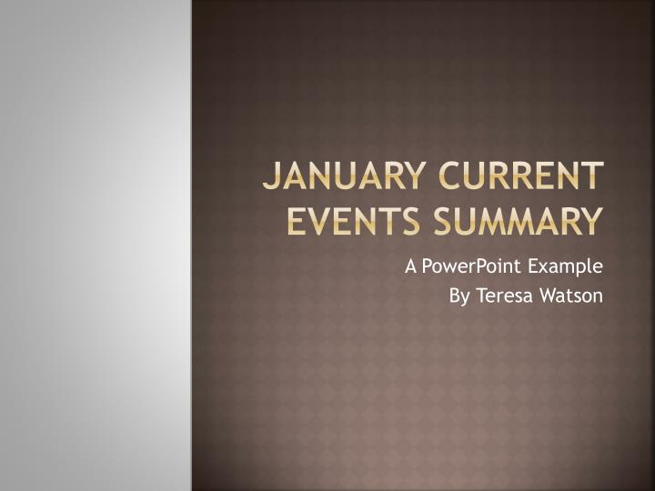 January Current Events Summary
