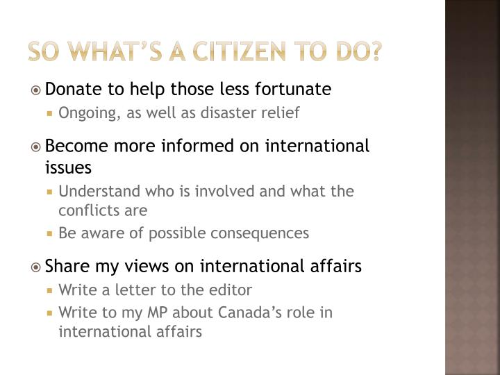 So what's a citizen to do?