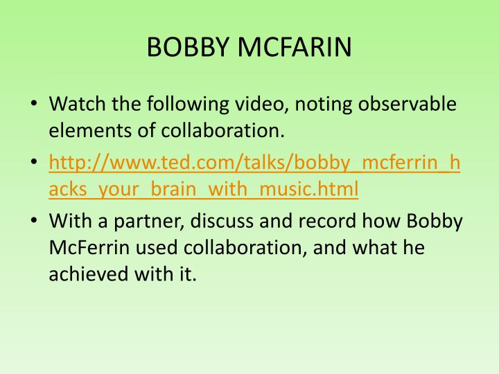 BOBBY MCFARIN
