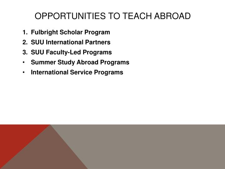 Opportunities to teach abroad