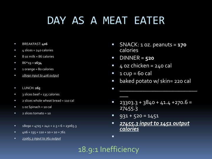 DAY AS A MEAT EATER