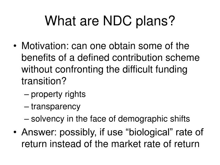 What are NDC plans?