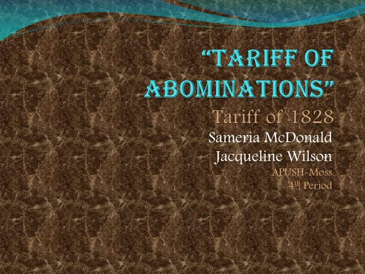 tariff of abominations tariff of 1828