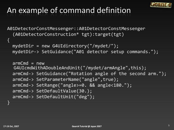 An example of command