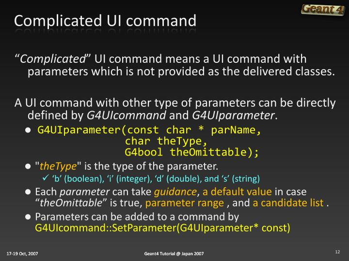 Complicated UI command