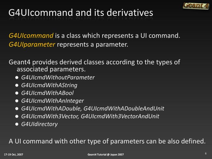 G4UIcommand and its derivatives