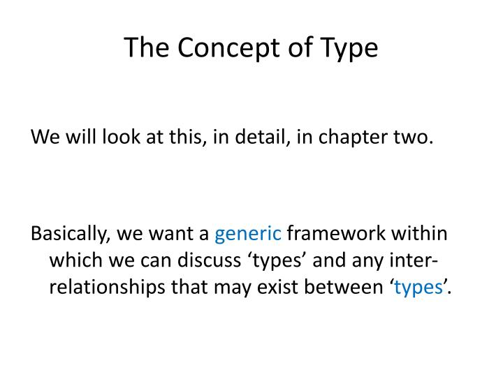 The Concept of Type