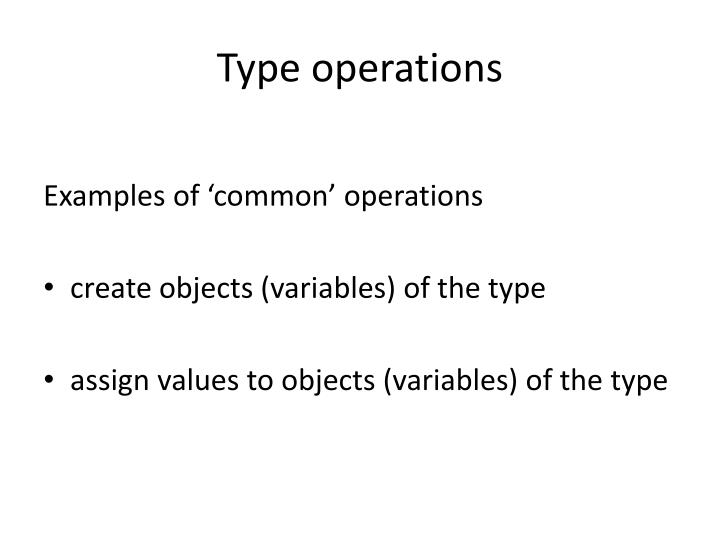 Type operations