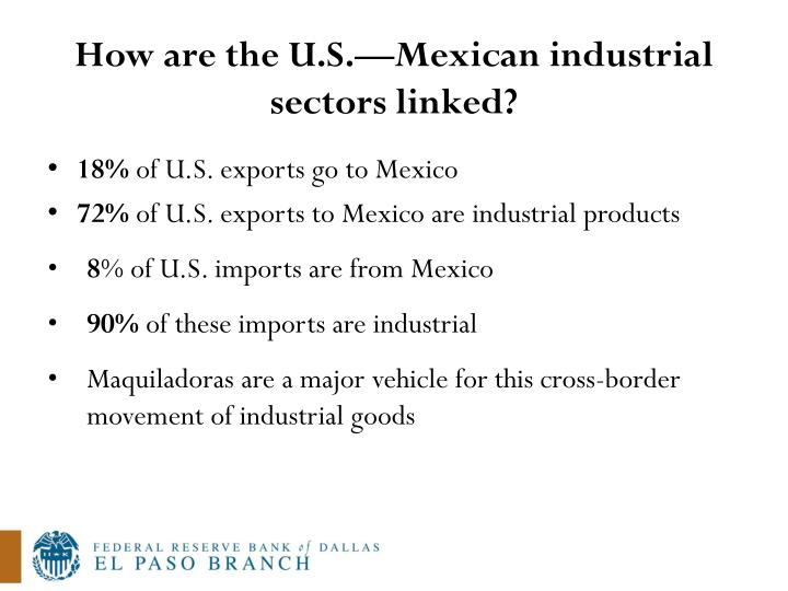 How are the U.S.—Mexican industrial sectors linked?