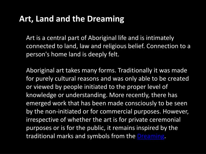 Art, Land and the Dreaming
